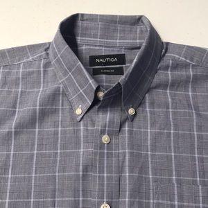NAUTICA Mens Large Blue Gray Oxford Dress Shirt